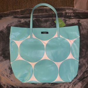 Kate Spade - Blue & White Dot Canvas Tote